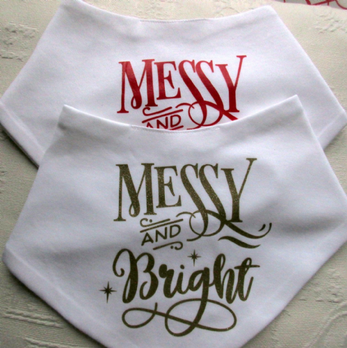 Christmas Baby Bandana Bibs 'Messy and Bright'